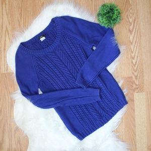 J. Crew Royal Blue Cable Knit Sweater M EUC